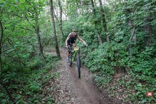 Lorenn mountain biking during the Xterra race Italy