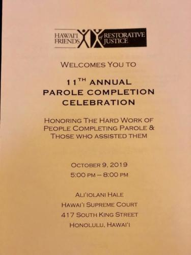 October 9, 2019 – HFRJ Parolee Celebration, Honolulu, Hawai'i